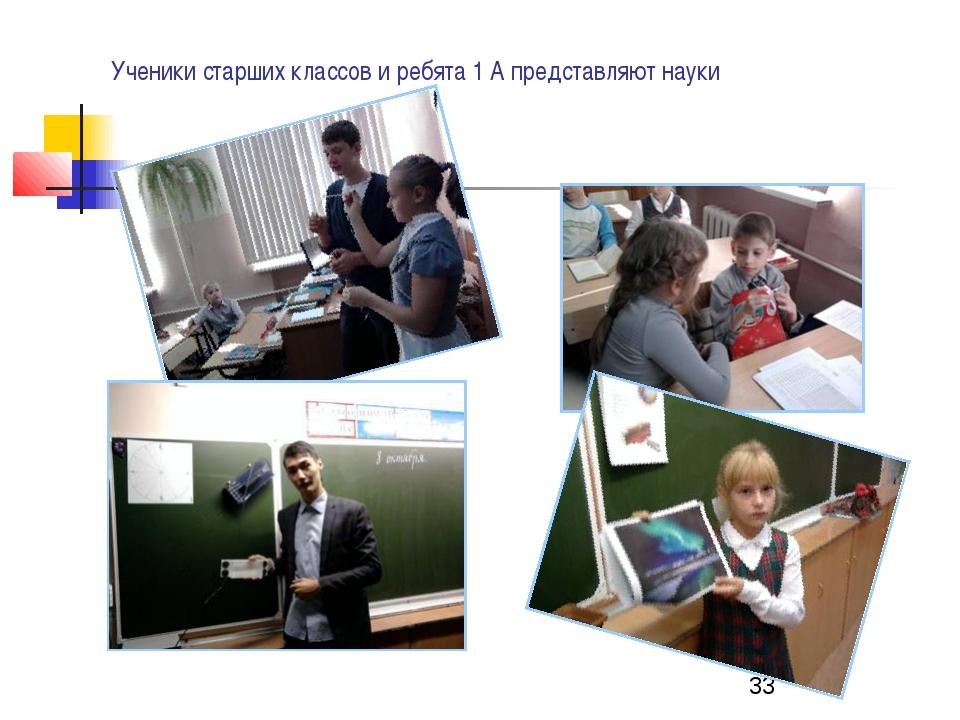 Ученики старших классов и ребята 1 А представляют науки