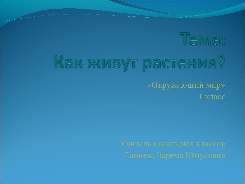 «Окружающий мир» 1 класс Учитель начальных классов Ганиева Зарема Юнусовна