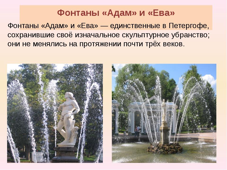 Фонтаны «Адам» и «Ева» Фонтаны «Адам» и «Ева» — единственные в Петергофе, сох...