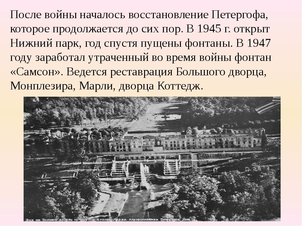 Послевойны началось восстановление Петергофа, которое продолжается до сих по...