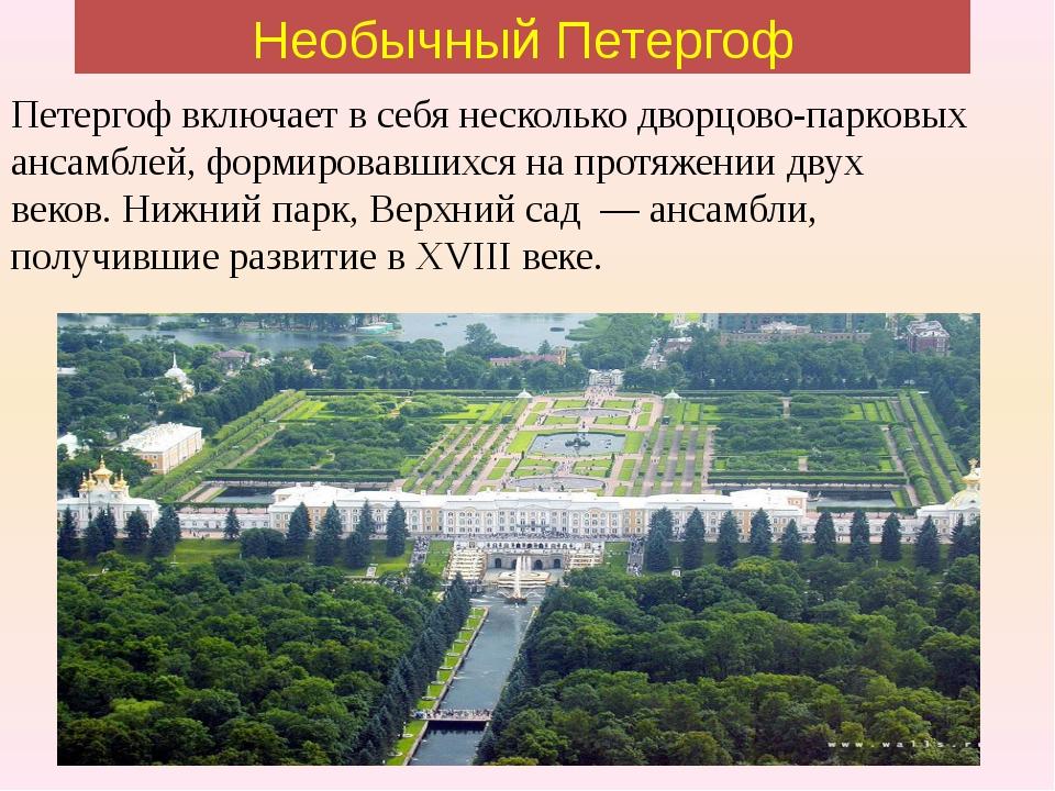 Необычный Петергоф Петергоф включает в себя несколько дворцово-парковых ансам...
