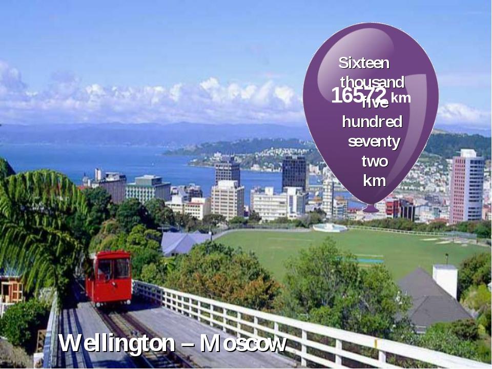 Wellington – Moscow Sixteen thousand five hundred seventy two km 16572 km