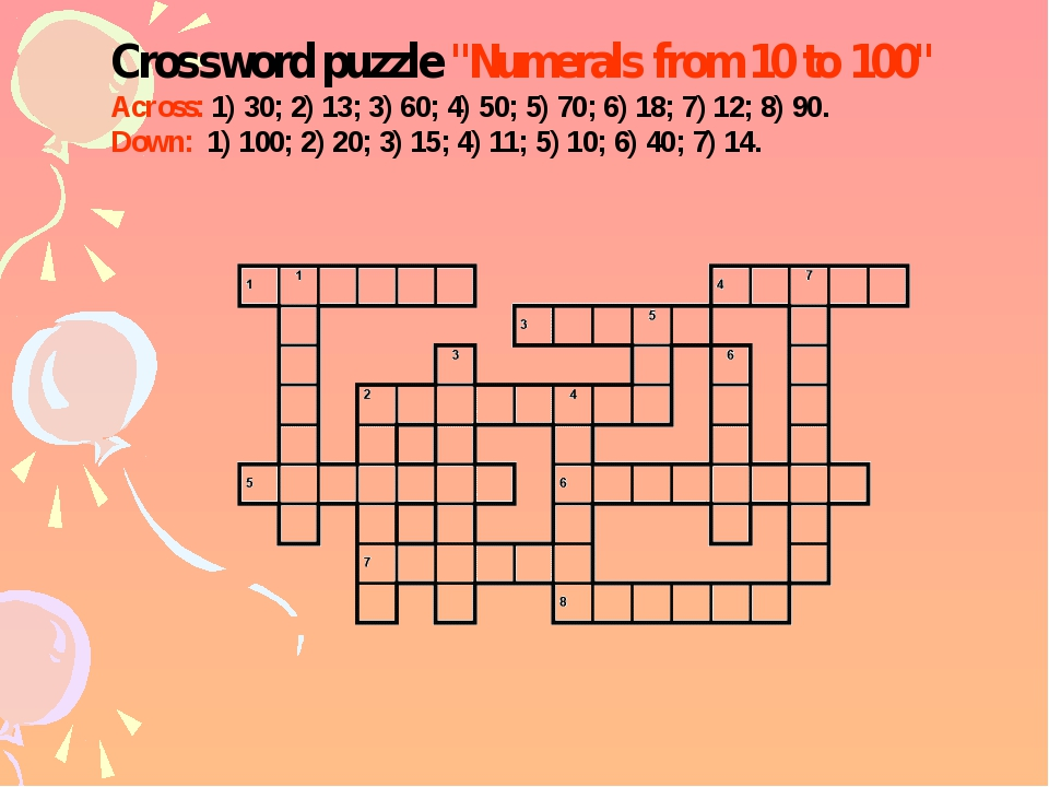 "Crossword puzzle ""Numerals from 10 to 100"" Across: 1) 30; 2) 13; 3) 60; 4) 50..."