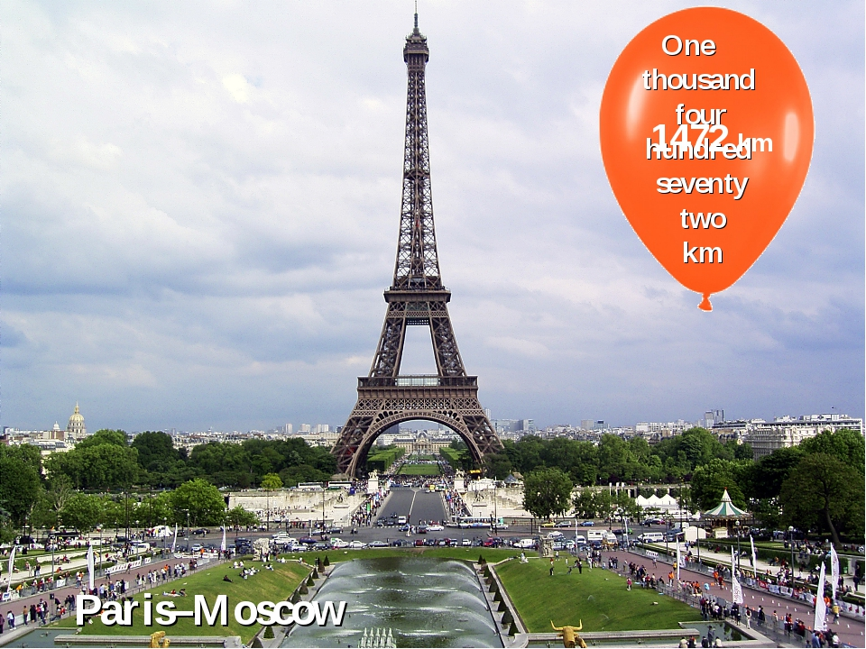 One thousand four hundred seventy two km 1472 km Paris–Moscow