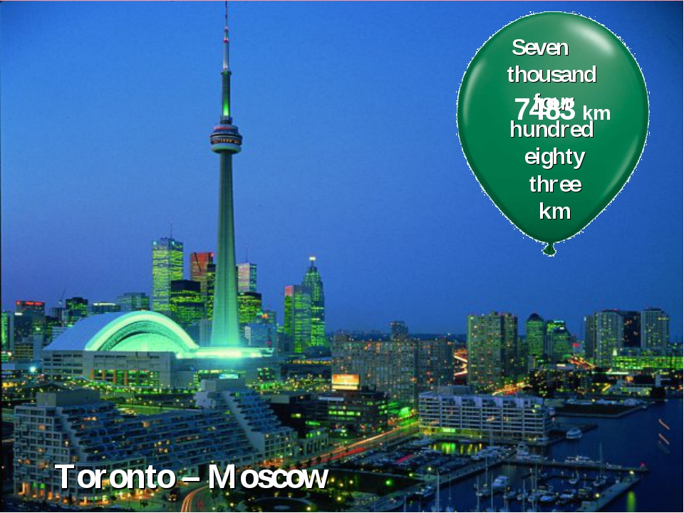 Toronto – Moscow Seven thousand four hundred eighty three km 7483 km