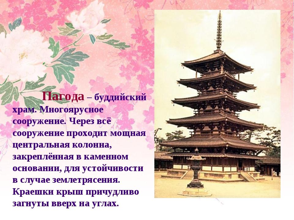 Пагода – буддийский храм. Многоярусное сооружение. Через всё сооружение прох...