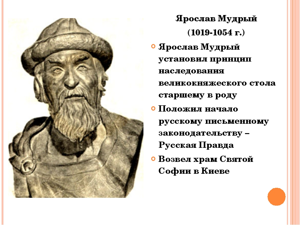Ярослав Мудрый (1019-1054 г.) Ярослав Мудрый установил принцип наследования в...