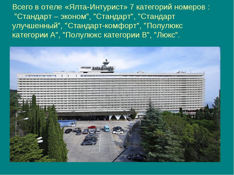 """Всего в отеле «Ялта-Интурист» 7 категорий номеров : """"Стандарт – эконом"""", """"Ста..."""