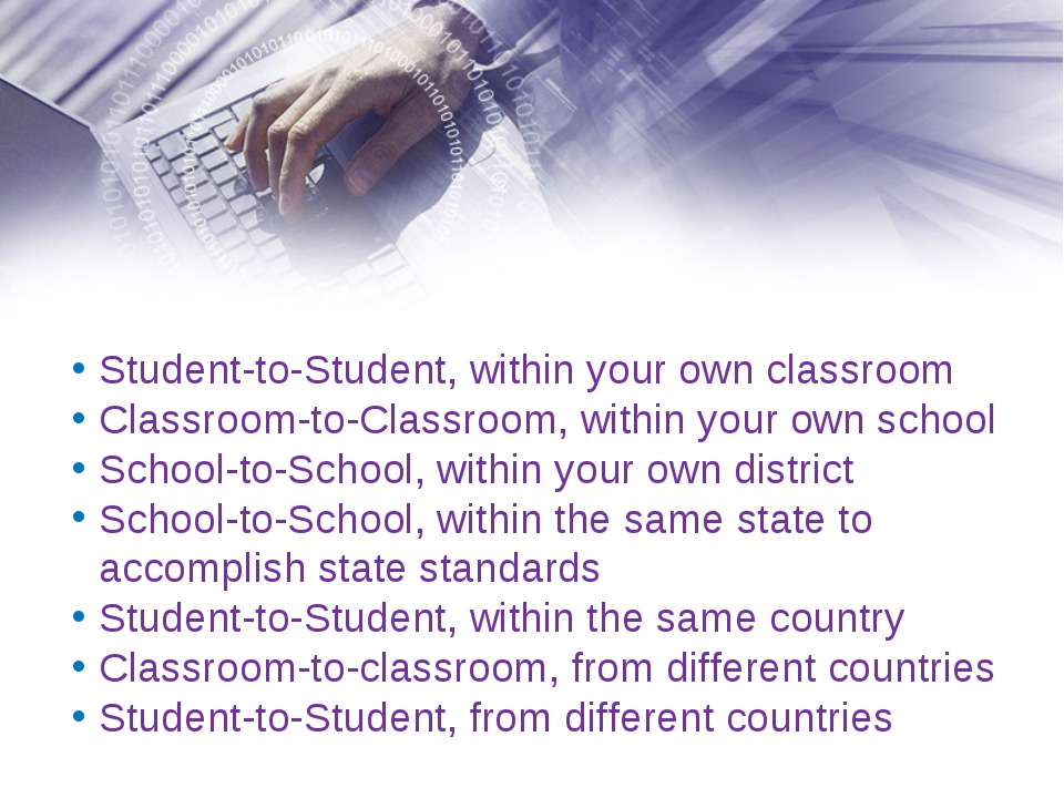 Student-to-Student, within your own classroom Classroom-to-Classroom, within...