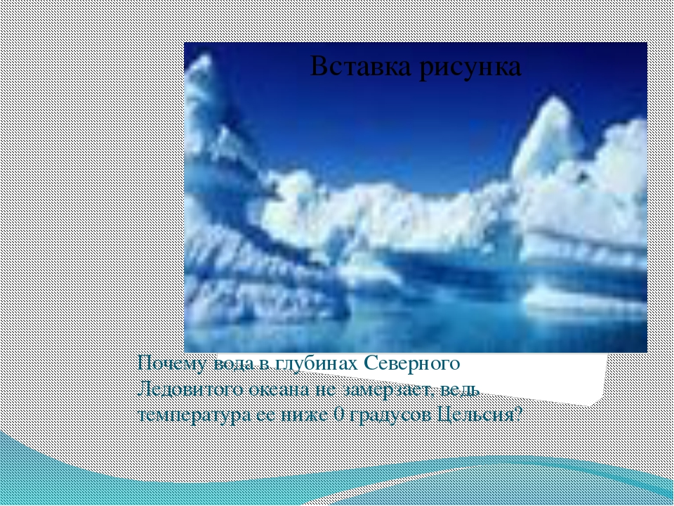 Почему вода в глубинах Северного Ледовитого океана не замерзает, ведь темпер...