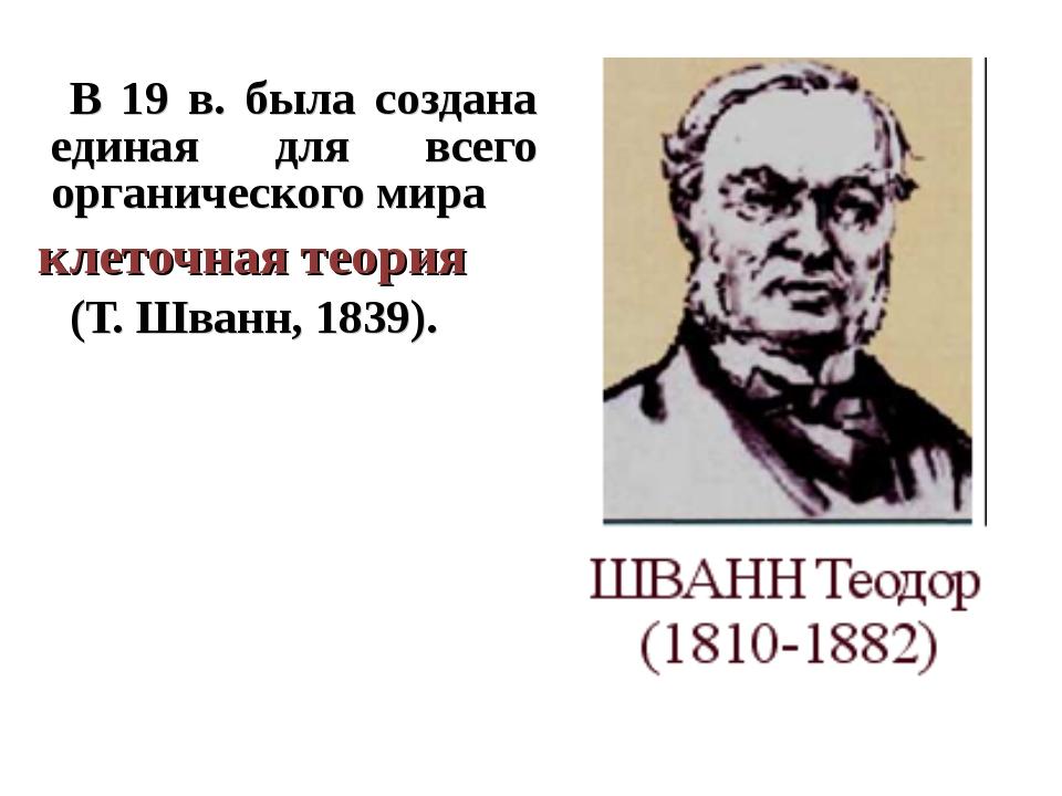 В 19 в. была создана единая для всего органического мира клеточная теория (Т...
