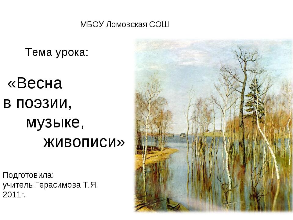Тема урока: «Весна в поэзии, музыке, живописи» Подготовила: учитель Герасимо...