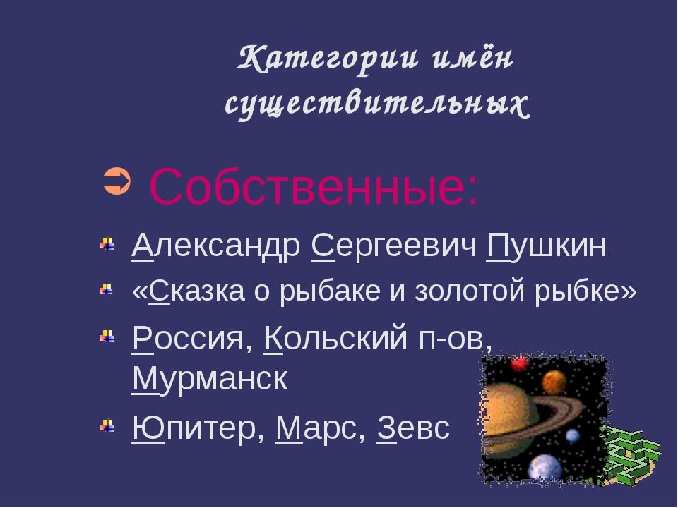 Категории имён существительных Собственные: Александр Сергеевич Пушкин «Сказк...