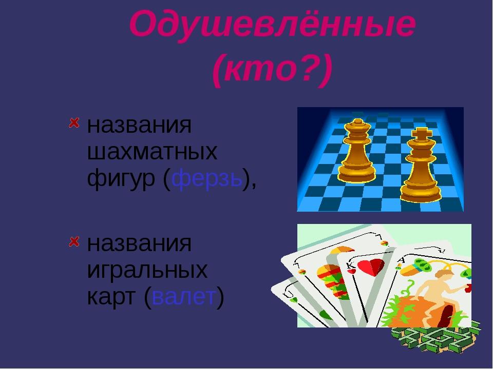 Одушевлённые (кто?) названия шахматных фигур (ферзь), названия игральных карт...