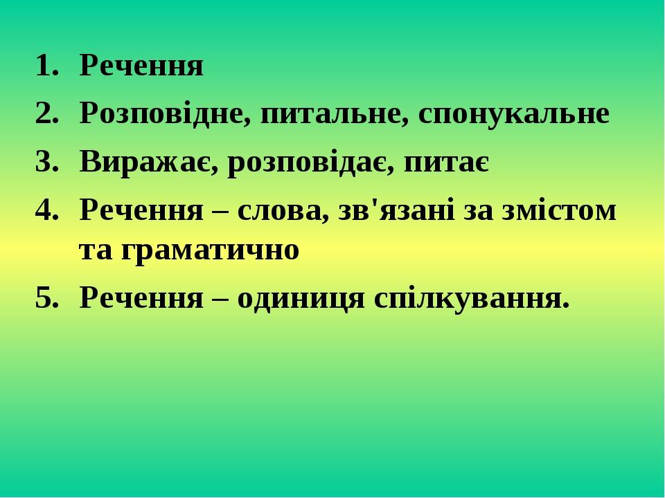 Речення Розповідне, питальне, спонукальне Виражає, розповідає, питає Речення...
