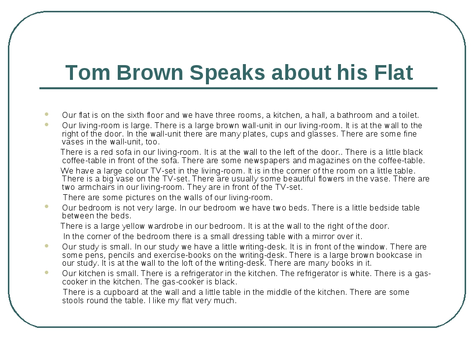 Tom Brown Speaks about his Flat Our flat is on the sixth floor and we have th...