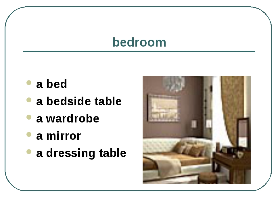 bedroom a bed a bedside table a wardrobe a mirror a dressing table