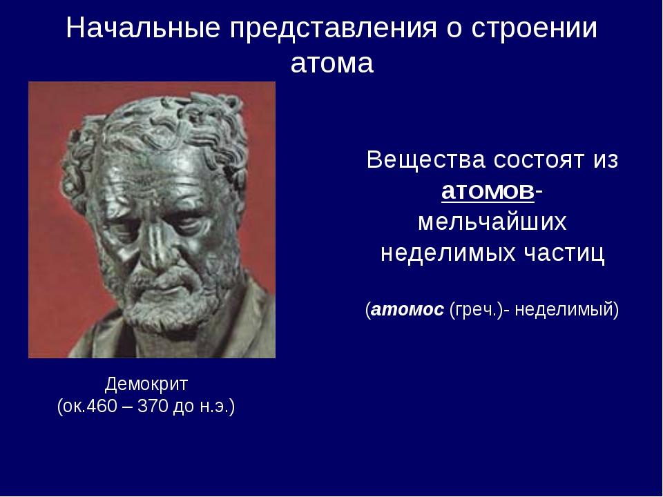 Начальные представления о строении атома Демокрит (ок.460 – 370 до н.э.) Веще...