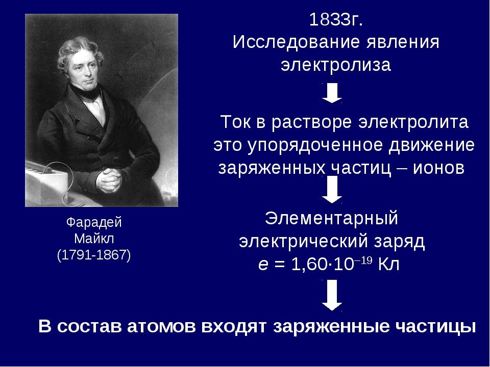 1833г. Исследование явления электролиза Фарадей Майкл (1791-1867) Ток в раств...