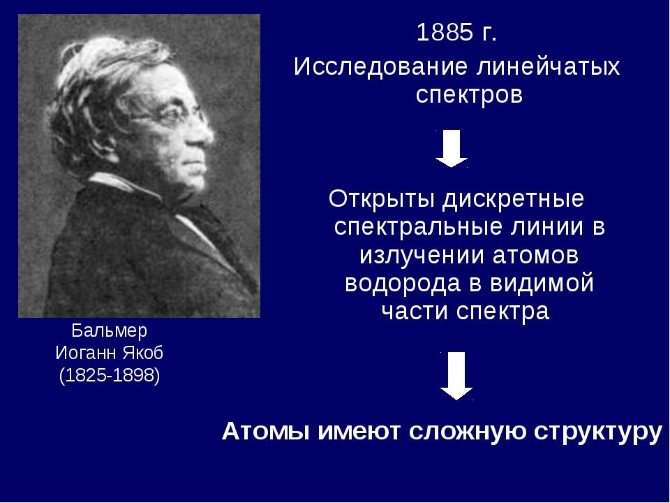 1885 г. Исследование линейчатых спектров Открыты дискретные спектральные лини...