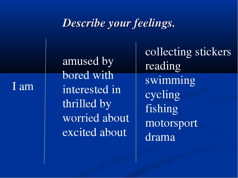 Describe your feelings. I am amused by bored with interested in thrilled by w...