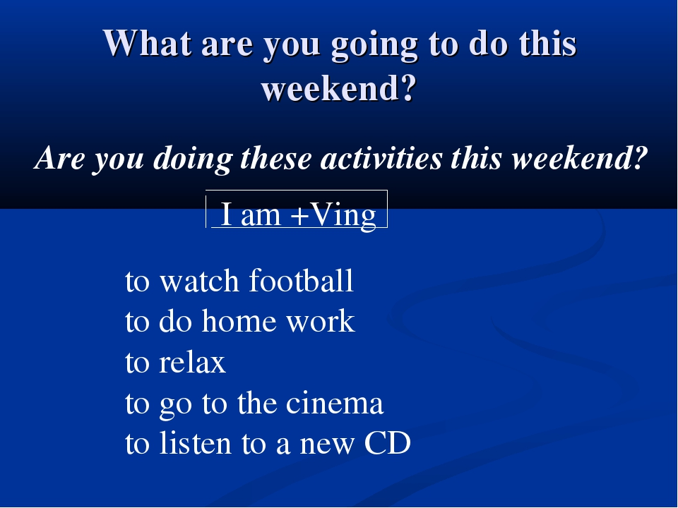 What are you going to do this weekend? Are you doing these activities this we...