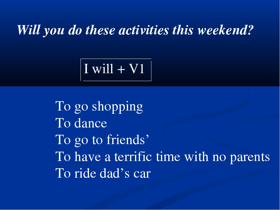 Will you do these activities this weekend? I will + V1 To go shopping To danc...