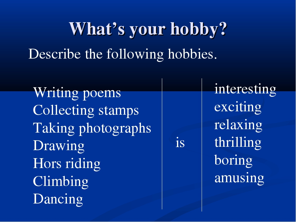 What's your hobby? Describe the following hobbies. Writing poems Collecting s...