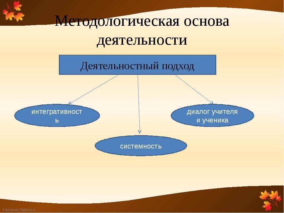 Методологическая основа деятельности Деятельностный подход интегративность си...