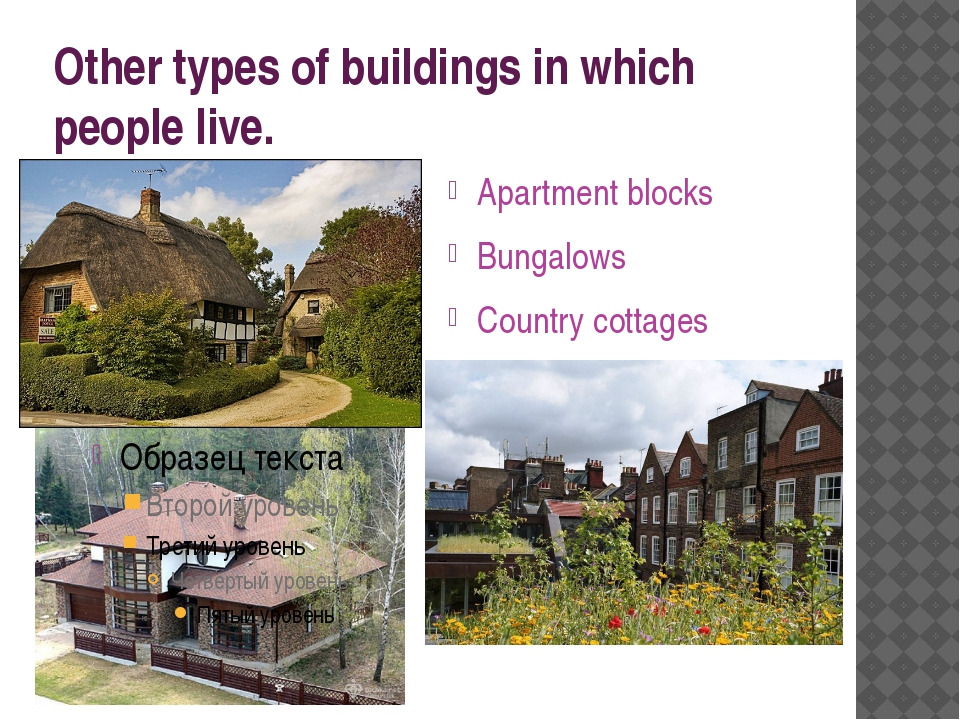 Other types of buildings in which people live. Apartment blocks Bungalows Cou