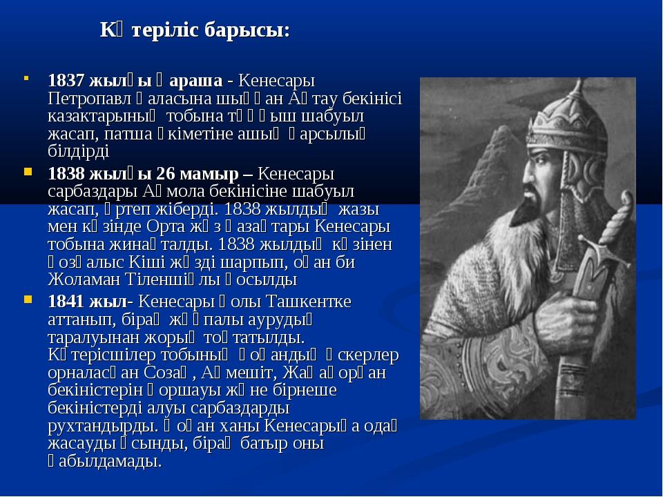 Көтеріліс барысы: 1837 жылғы қараша - Кенесары Петропавл қаласына шыққан Ақт...