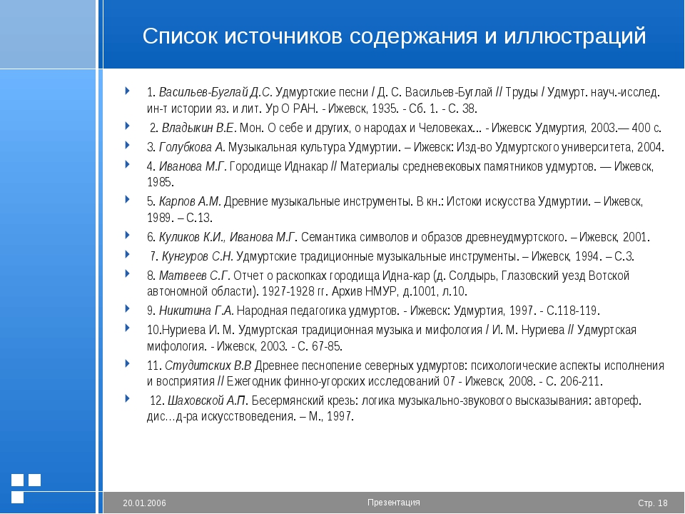 Список источников содержания и иллюстраций 1.Васильев-Буглай Д.С. Удмуртские...
