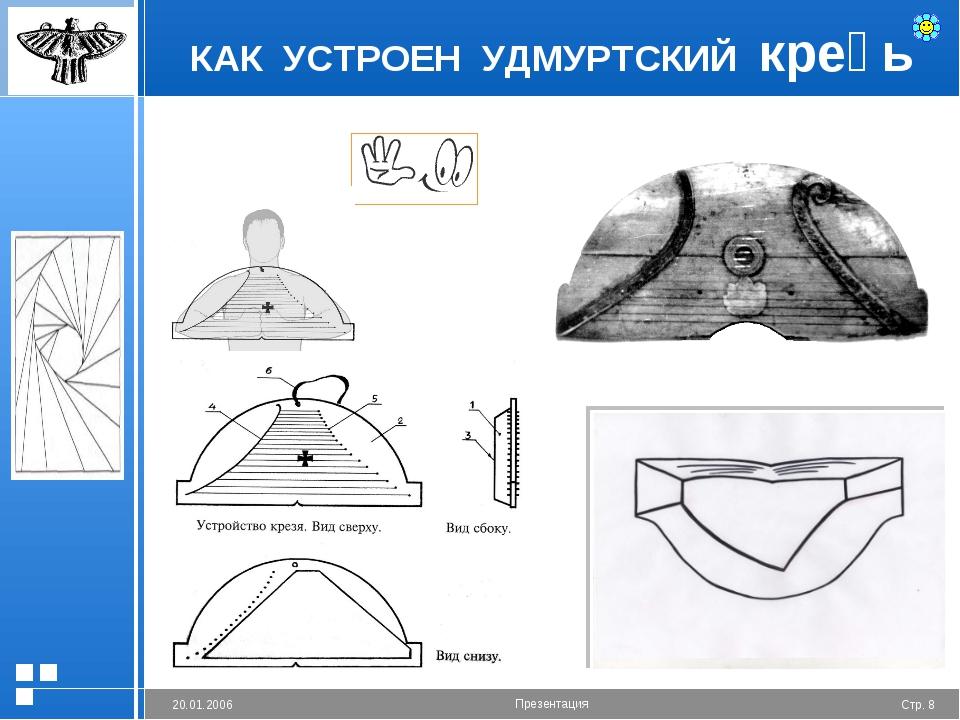 КАК УСТРОЕН УДМУРТСКИЙ креӟь Стр. * 20.01.2006 Презентация