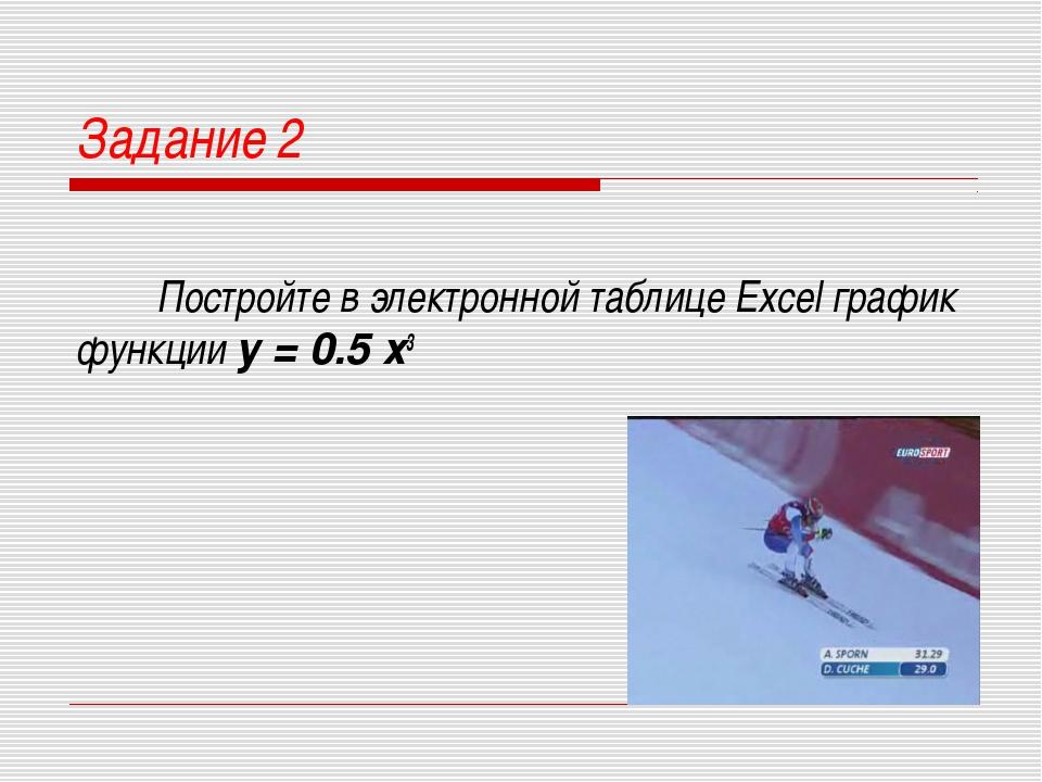 Задание 2 Постройте в электронной таблице Excel график функции у = 0.5 х3