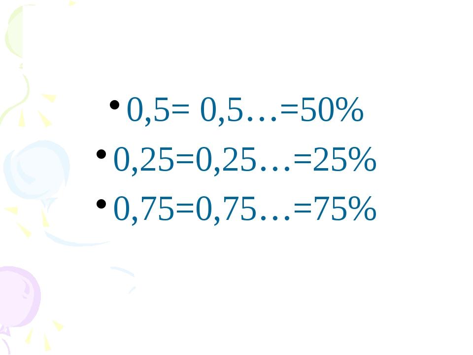 0,5= 0,5…=50% 0,25=0,25…=25% 0,75=0,75…=75% Математика