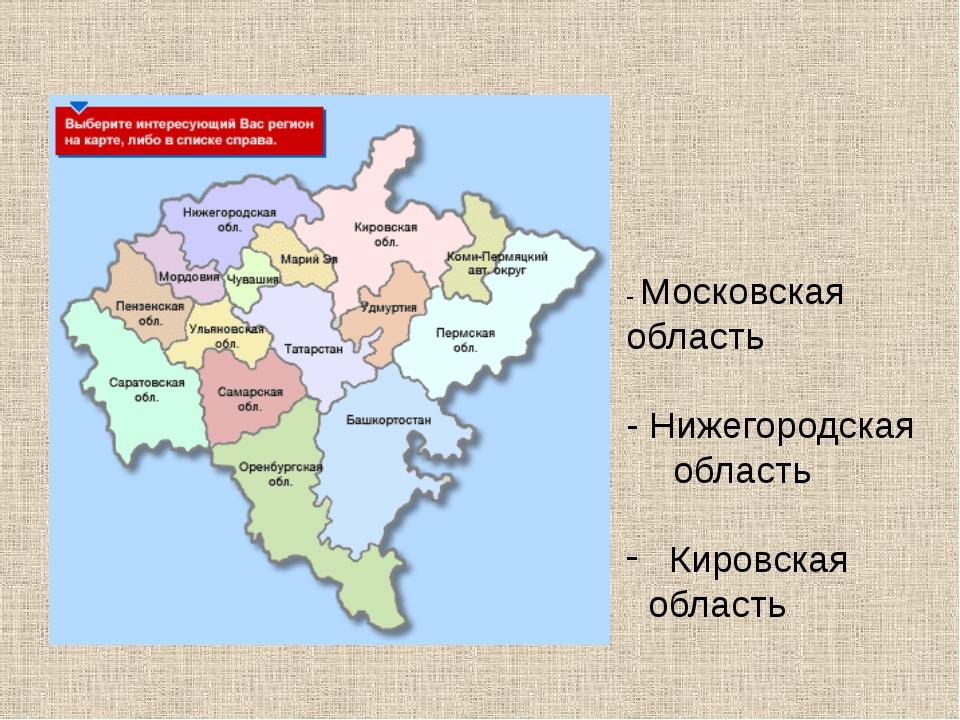 - Московская область - Нижегородская область Кировская область