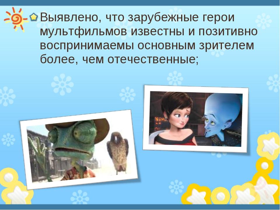 Выявлено, что зарубежные герои мультфильмов известны и позитивно воспринимаем...