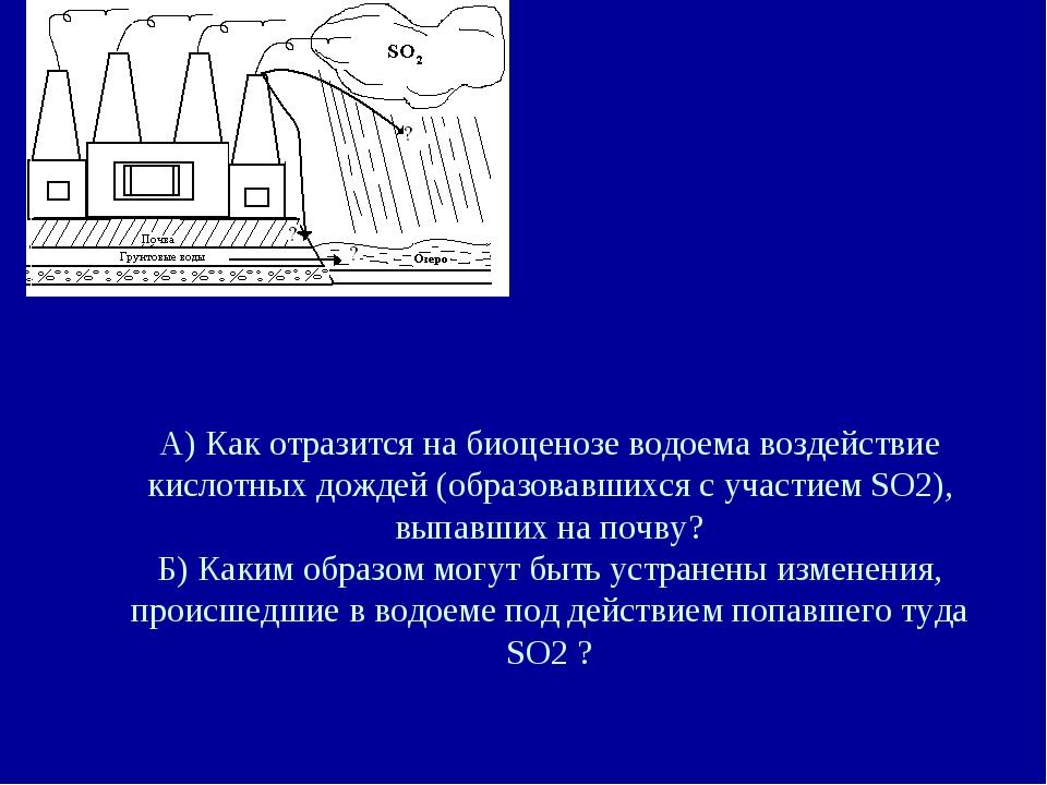 А) Как отразится на биоценозе водоема воздействие кислотных дождей (образовав...