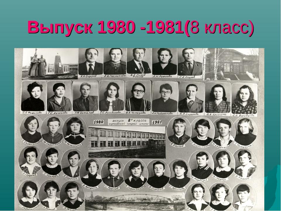 Выпуск 1980 -1981(8 класс)