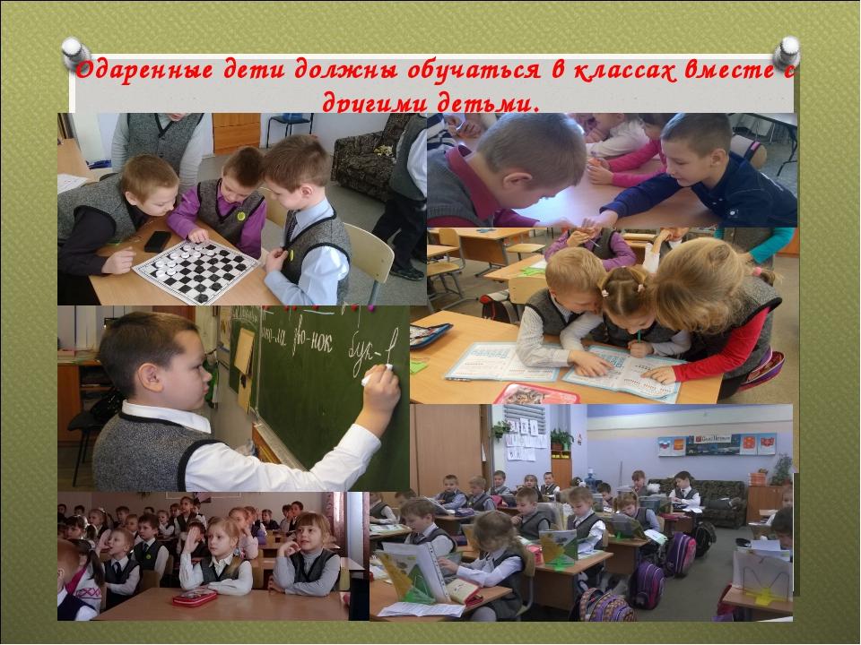 Одаренные дети должны обучаться в классах вместе с другими детьми.