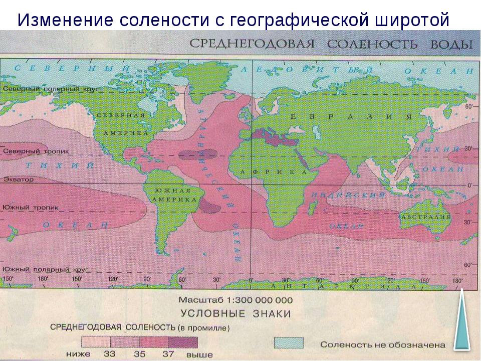 Изменение солености с географической широтой