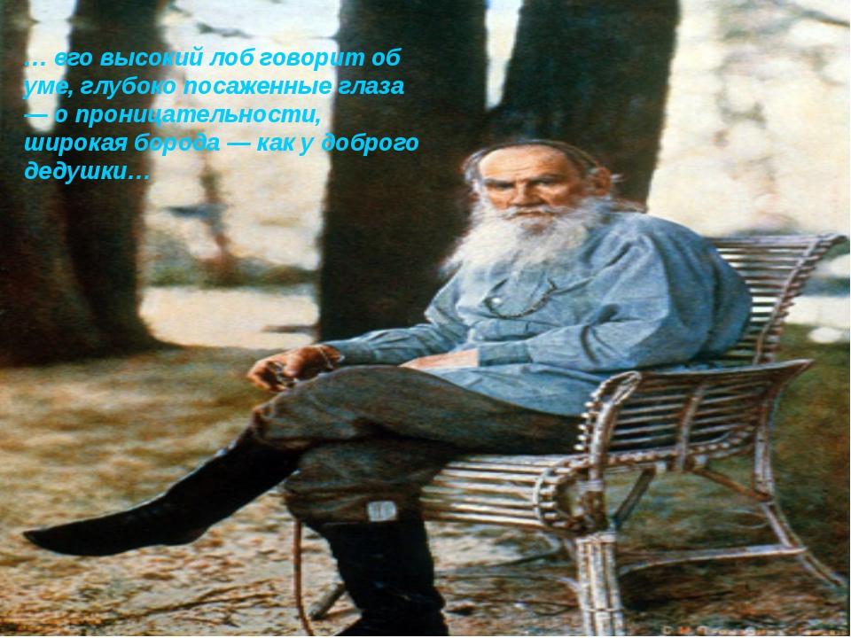 … его высокий лоб говорит об уме, глубоко посаженные глаза — о проницательнос...