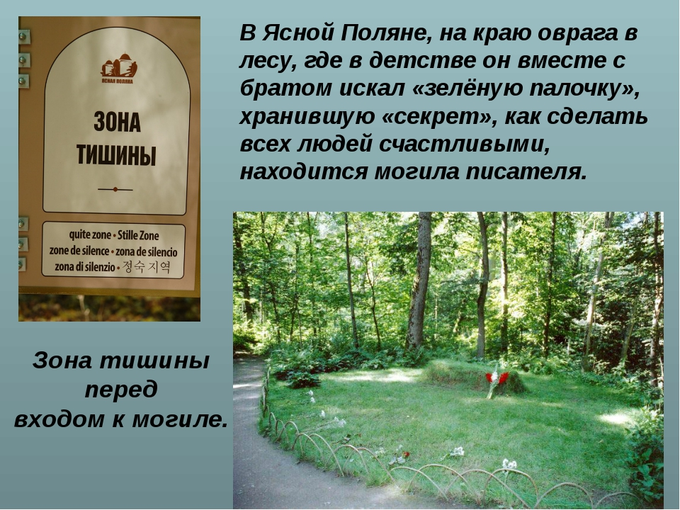 Зона тишины перед входом к могиле.  В Ясной Поляне, на краю оврага в лесу, г...