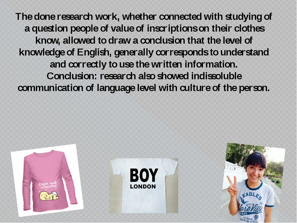 The done research work, whether connected with studying of a question people...