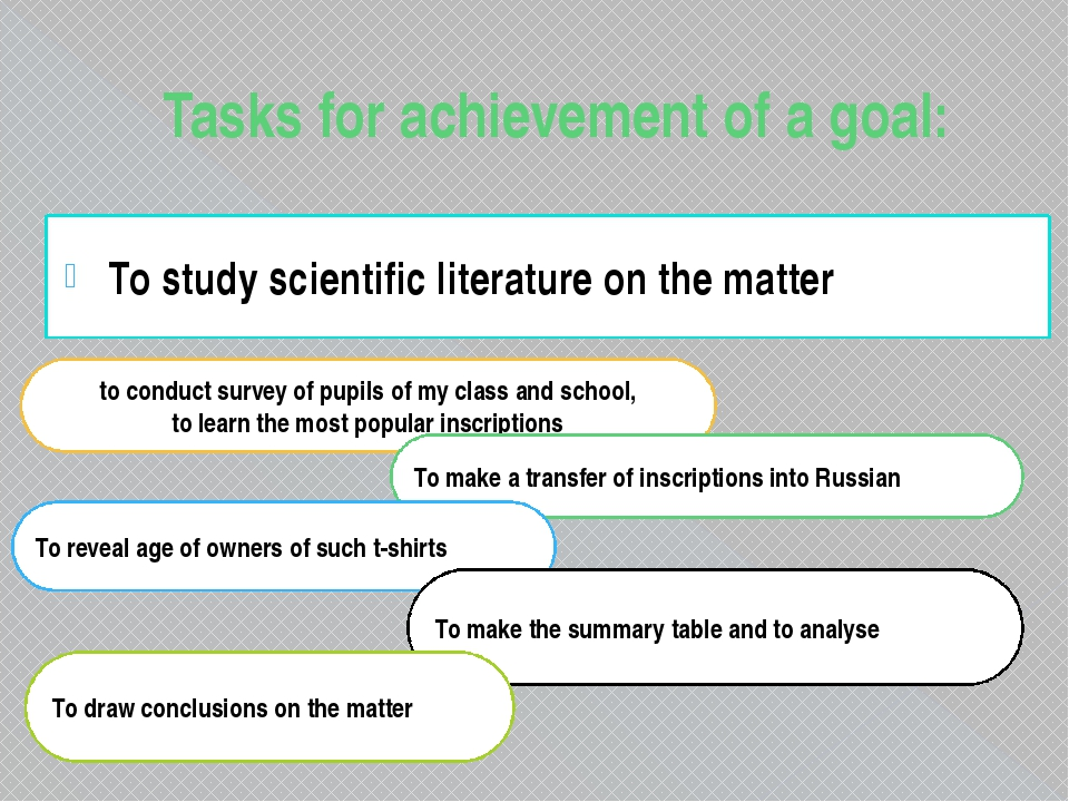 Tasks for achievement of a goal: To study scientific literature on the matter...