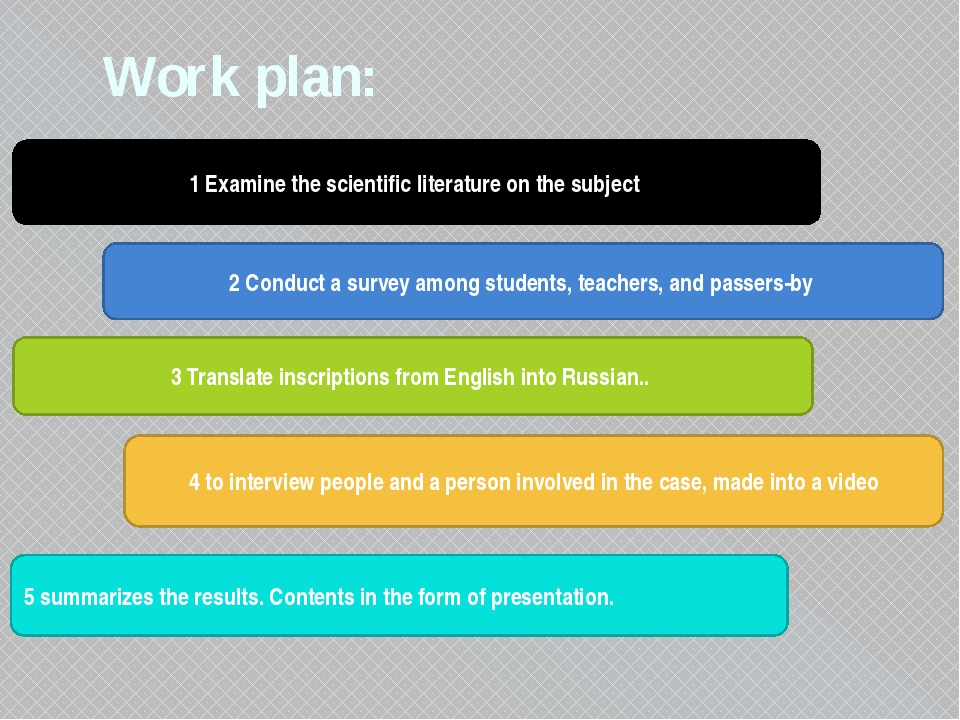 Work plan: 1 Examine the scientific literature on the subject 2 Conduct a sur...
