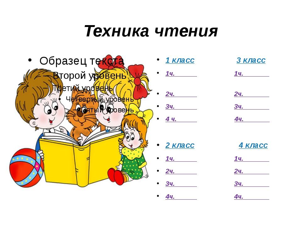 Техника чтения 1 класс 3 класс 1ч.______ 1ч._______ 2ч.______ 2ч._______ 3ч._...