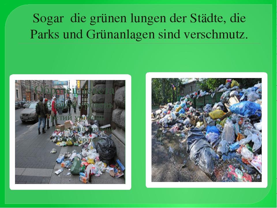 Sogar die grünen lungen der Städte, die Parks und Grünanlagen sind verschmutz.