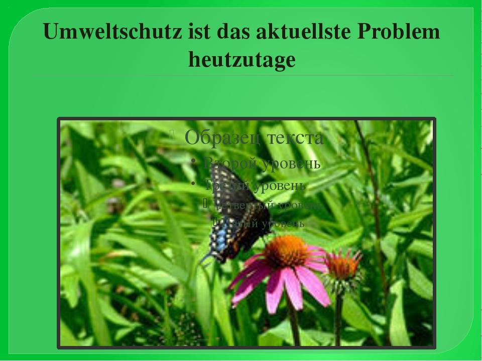 Umweltschutz ist das aktuellste Problem heutzutage