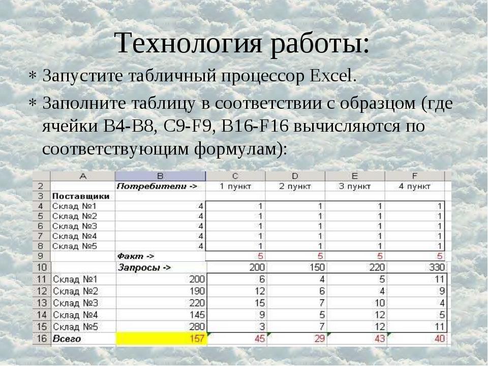 Запустите табличный процессор Excel. Заполните таблицу в соответствии с образ...